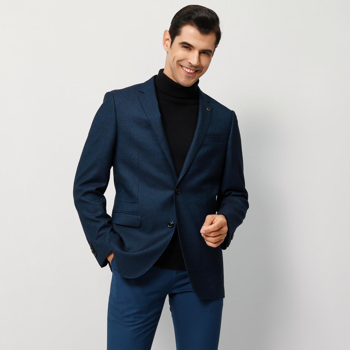 鄂尔多斯 MEN'S 秋冬羊毛混纺时尚商务长袖男士西服