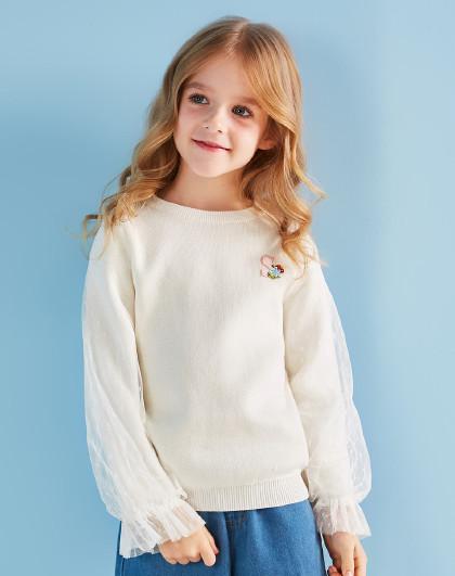 笛莎 Deesha2019春新款童装网纱拼接毛衣女童长袖针织衫