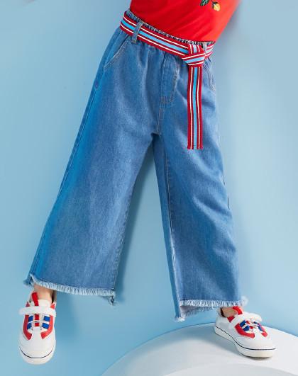 笛莎 Deesha2019春季新款童装裤子儿童阔腿裤女童牛仔裤
