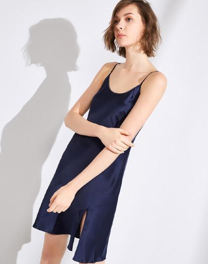 MEIBIAO 美标春夏桑蚕丝薄款开叉吊带短裙丝绸性感情趣睡衣女士真丝睡裙