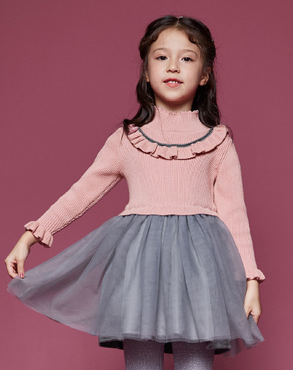 笛莎 Deesha新款童装儿童裙子秋冬长袖女童连衣裙