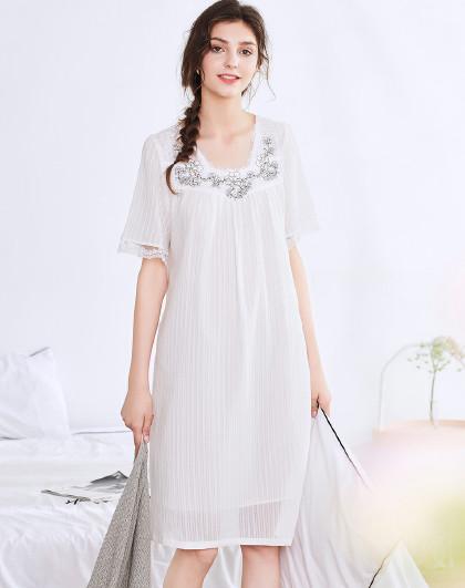 MEIBIAO 美标短袖睡衣薄款春夏全棉质可外穿蕾丝家居服甜美性感女纯棉睡裙