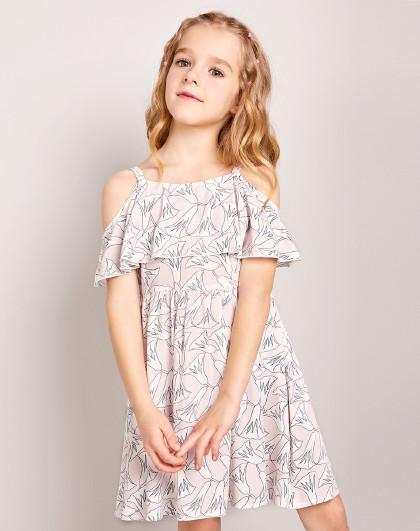 笛莎 2019夏季新款童装女童时尚花色吊带式连衣裙女童连衣裙