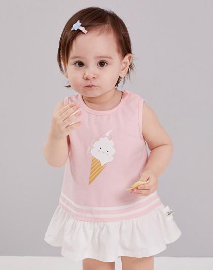 笛莎 2019夏季新款童装女童冰淇淋印花撞色连衣裙