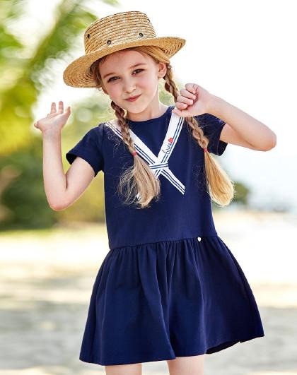 笛莎 2019夏季新款童装女童时尚海军风短袖连衣裙