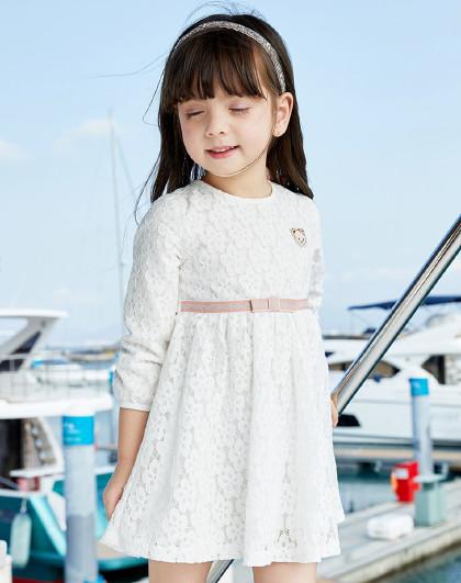 笛莎 Deesha2019春季新款童装小童仙女裙长袖女童连衣裙