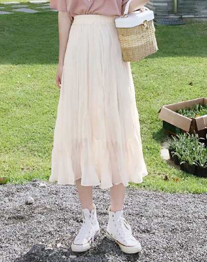 韩版女学院风A字雪纺中长款中腰半身裙
