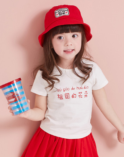 笛莎 2019夏季新款童装女童夏装印花T恤女童短袖T恤