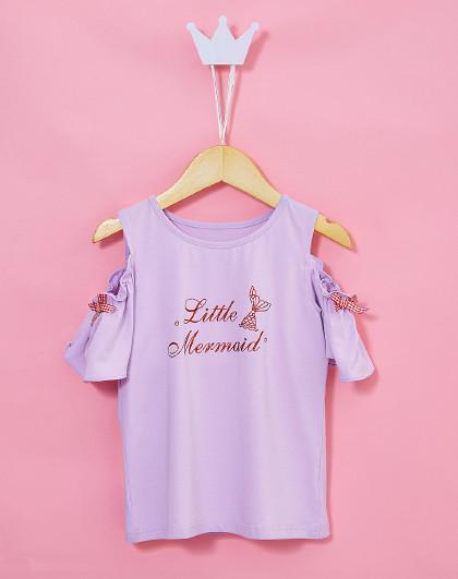 笛莎 2019夏季新款童装女童甜美露肩短袖T恤