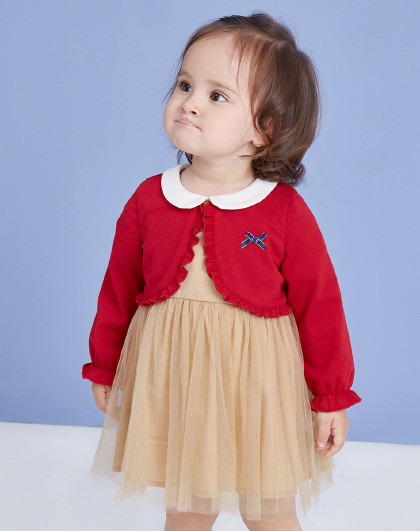 笛莎 Deesha2019秋新款童装仙女裙假两件网纱女童连衣裙