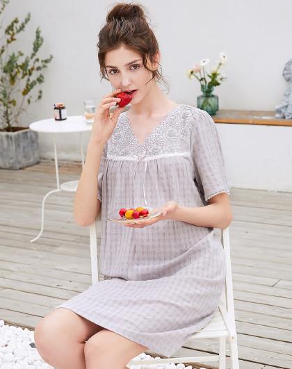 MEIBIAO 美标短袖春夏薄款全棉质梭织空羽绉甜美性感蕾丝睡衣女士纯棉睡裙