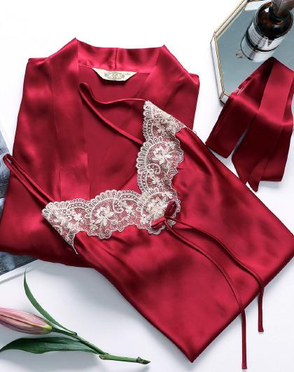 MEIBIAO 美标100%桑蚕丝红色结婚本命年情趣性感内衣睡衣女士真丝睡裙