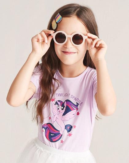 笛莎 2019夏季新款童装女童印花纯棉圆领短袖T恤