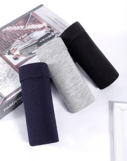 马克华菲 3条装男士平角内裤中腰男款舒适透气四角裤男式短裤头平