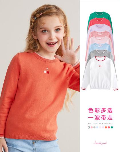 笛莎 2019秋季新款童装女童甜美樱桃绣花长袖套头针织衫