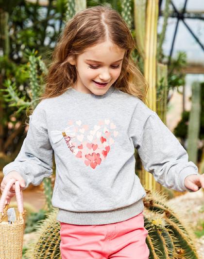 笛莎 Deesha2019秋季新款童装儿童上衣印花女童落肩卫衣