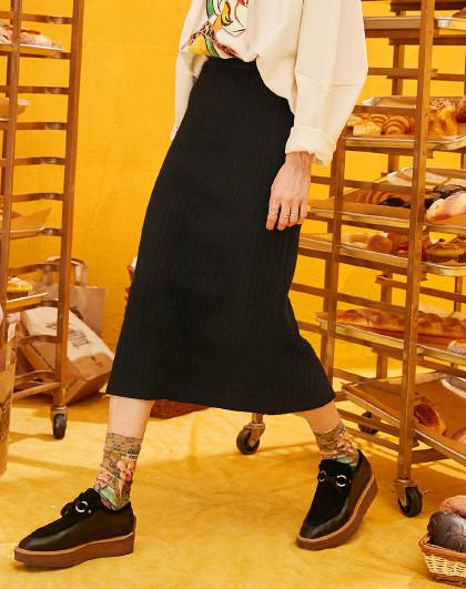 妖精的口袋 春季针织半身裙包臀百搭休闲时尚修身直筒裙
