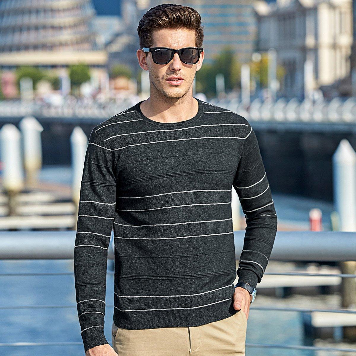 SOUREPOSE 2019秋冬款条纹套头长袖休闲打底衫上衣男士毛衣针织衫轻商务