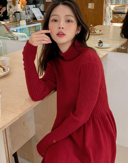 春季韩版女款高领纽扣饰长袖收腰弹力大摆女连衣裙