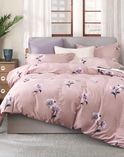 全棉时尚简约格子磨毛床单被套式床上用品纯棉三四件套