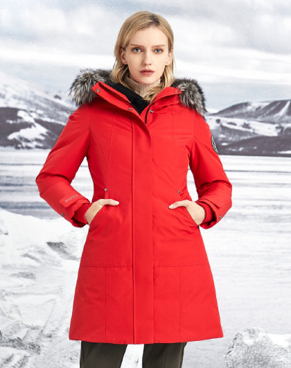 【加厚】中长款毛领冬季鹅绒加厚保暖羽绒服女