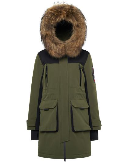【反季清仓】貉子毛领中长款冬装加厚保暖外套潮鹅绒羽绒服