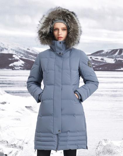 【反季清仓】中长款羽绒服鹅绒毛领加厚保暖外套女