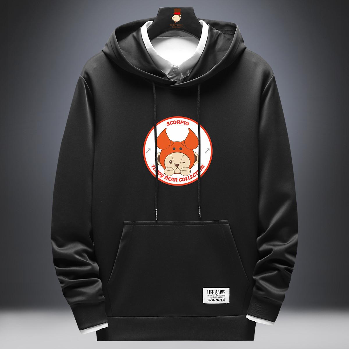 Teddy Bear Collection 泰迪星座系列 天蝎座卡通印花卫衣  青少年宽松潮流运动卫衣男