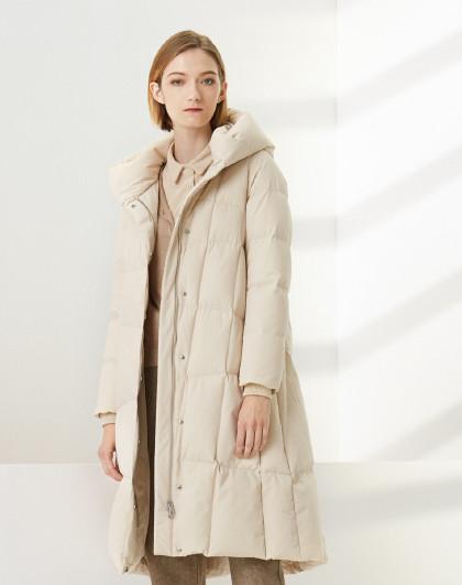 【加厚】鹅绒厚款时尚休闲保暖连帽长款羽绒服