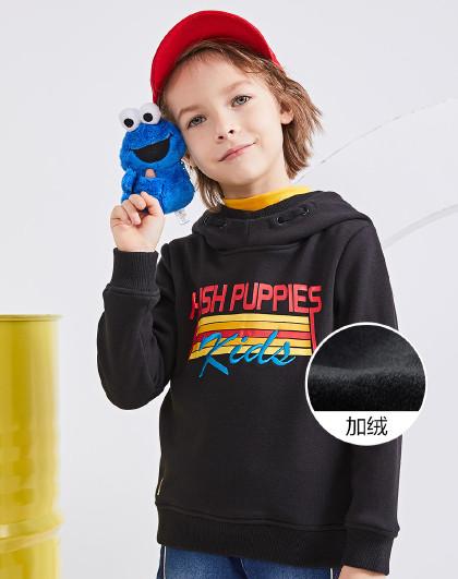 暇步士 童装秋冬装新款男童卫衣印花连帽加绒上衣