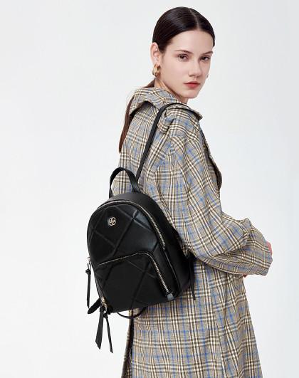 红谷 女包真皮双肩包双肩背包女大容量背包女菱格包包