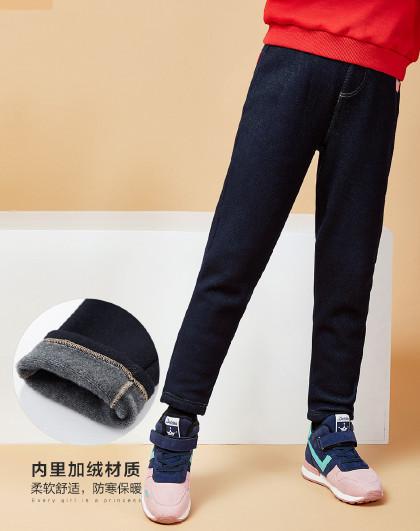 笛莎 Deesha冬季新款童装儿童裤子女童加绒牛仔长裤