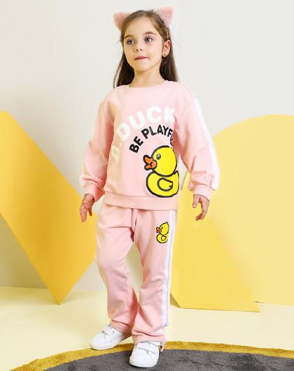 小黄鸭春秋季卡通萌趣可爱鸭子印花女童套装圆领套头卫衣套装