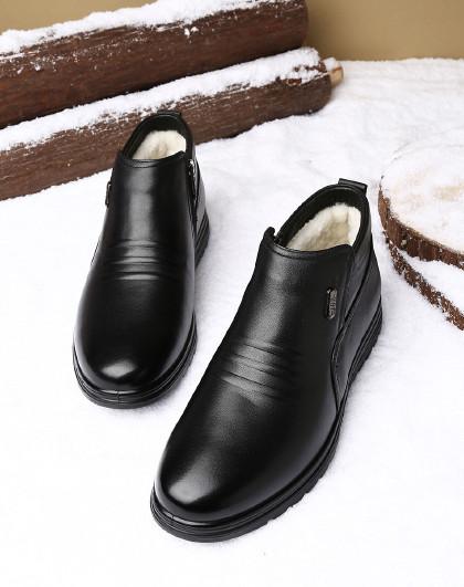 红蜻蜓 冬季加绒男鞋棉皮鞋男真皮羊毛高帮鞋男保暖中老年男士棉鞋