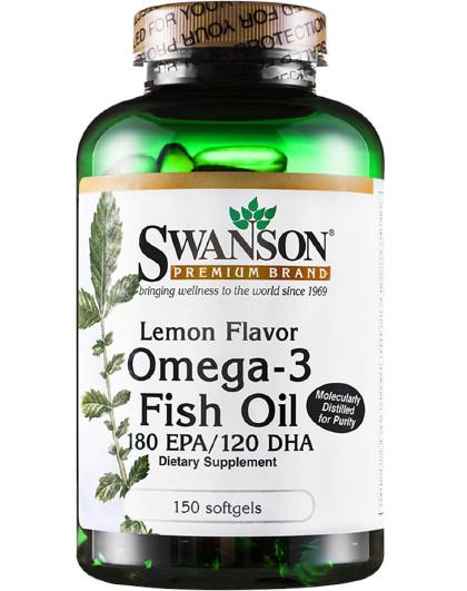 美国斯旺森柠檬味欧米伽-3脂肪酸鱼油软胶囊150粒