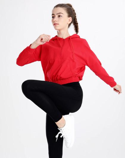 上新 女款瑜伽健身跑步连帽套头长袖T恤 简约百搭