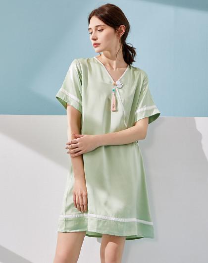 MEIBIAO 美标新款短袖睡衣春夏季性感100%桑蚕丝丝绸家居服女真丝睡裙