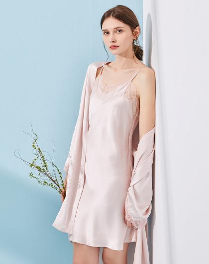 MEIBIAO 美标丝绸睡裙浴袍100%桑蚕丝女春夏性感睡衣吊带真丝睡袍两件套