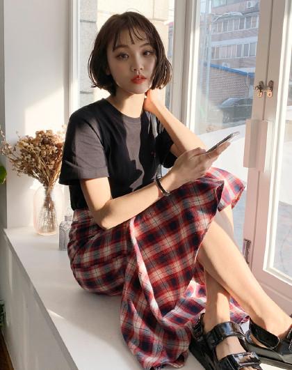 夏韩版女款街头风休闲宽松印花格子鱼尾裙时尚套