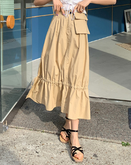夏韩版女款街头风休闲A字可拆卸口袋半身裙