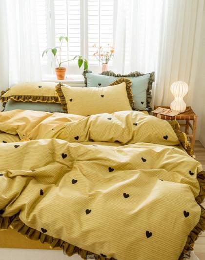 全棉公主风荷叶边被套床单床上用品四件套纯棉床上四件套