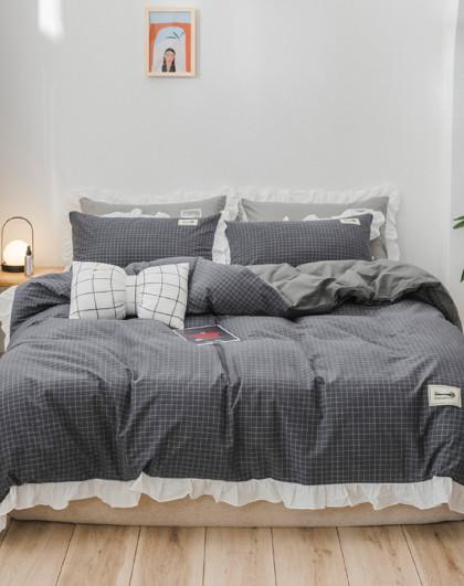 全棉简约公主风被罩被套床单全棉四件套床上用品纯棉四件套