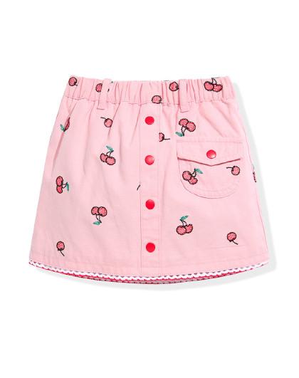 太平鸟童装夏季女童短裙粉色樱桃牛仔短裙洋气