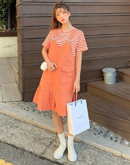 夏韩版女款宽松休闲条纹两件套时尚套
