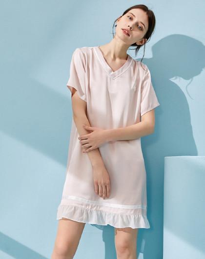 MEIBIAO 美标新款短袖春夏丝绸睡衣100%桑蚕丝家居服公主风女真丝睡裙