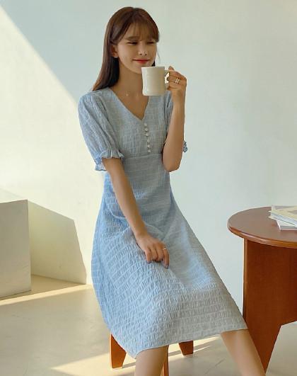 夏韩版女条纹系带收腰中长款仙女气质短袖连衣裙