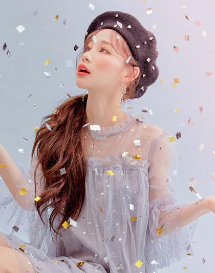 夏季韩版女款温柔风网纱拼接亮片仙女裙连衣裙