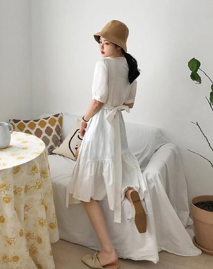 夏韩版女款不规则气质v领中长款连衣裙