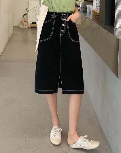 夏韩版女纯色修身A字中长裙高腰牛仔半身裙