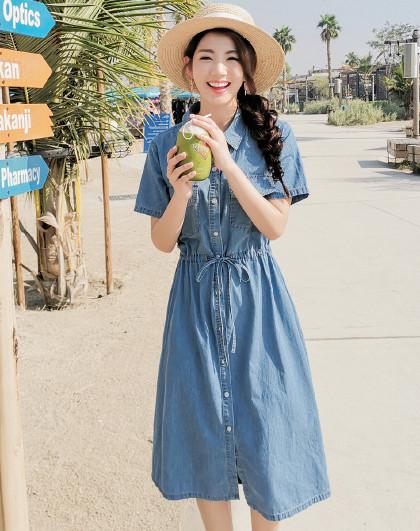 夏韩版女款街头休闲A字中长款牛仔连衣裙